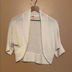 Forever 21 White Crochet Shrug